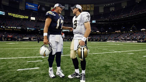 San Diego Chargers quarterback Philip Rivers (17) talks with New Orleans Saints quarterback Drew Brees (9) after their NFL football preseason game at the Louisiana Superdome in New Orleans, Friday, Aug. 27, 2010. (AP Photo/Gerald Herbert)