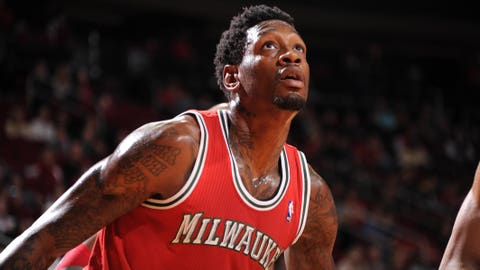 HOUSTON, TX - JANUARY 18:  Larry Sanders #8 of the Milwaukee Bucks reacts to a play against the Houston Rockets on January 18, 2014 at the Toyota Center in Houston, Texas. NOTE TO USER: User expressly acknowledges and agrees that, by downloading and or using this photograph, User is consenting to the terms and conditions of the Getty Images License Agreement. Mandatory Copyright Notice: Copyright 2014 NBAE (Photo by Bill Baptist/NBAE via Getty Images)