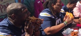 Chargers players tackle 'Chargers Chili Cheese' at Pink's Hot Dogs