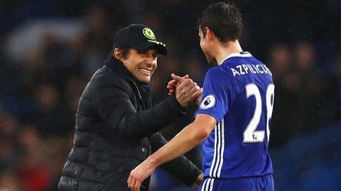 LONDON, ENGLAND - FEBRUARY 25: Antonio Conte, Manager of Chelsea (L) and Cesar Azpilicueta of Chelsea (R) embrace after the Premier League match between Chelsea and Swansea City at Stamford Bridge on February 25, 2017 in London, England.  (Photo by Clive Rose/Getty Images)
