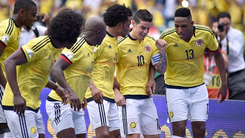 BARRANQUILLA, COLOMBIA - MARCH 23:  James Rodriguez of Colombia celebrates with teammates after scoring the opening goal during a match between Colombia and Bolivia as part of FIFA 2018 World Cup Qualifiers at Metropolitano Roberto Melendez Stadium on March 23, 2017 in Barranquilla, Colombia. (Photo by Guillermo Legaria/LatinContent/Getty Images)