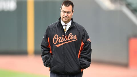 BALTIMORE, MD - APRIL 30: General manger of the Baltimore Orioles on the field before a baseball game against the Chicago White Sox at Oriole Park at Camden yards on April 30, 2016 in Baltimore, Maryland. (Photo by Mitchell Layton/Getty Images)
