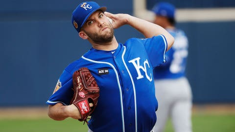 Kansas City Royals' Danny Duffy throws during a spring training baseball game Tuesday, Feb. 28, 2017, in Phoenix. (AP Photo/Morry Gash)