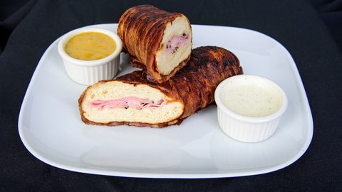 Bacon-wrapped pretzel baguette