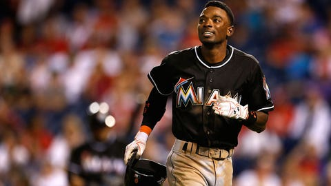 Miami Marlins second baseman Dee Gordon (9) in action during a baseball game against the Philadelphia Phillies, Saturday, Sept. 17, 2016, in Philadelphia. The Phillies won 8-0. (AP Photo/Laurence Kesterson)