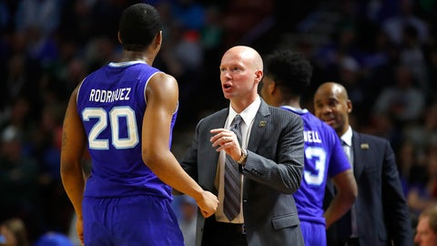 GREENVILLE, SC - MARCH 17:  Head coach Kevin Willard of the Seton Hall Pirates talks with Desi Rodriguez #20 of the Seton Hall Pirates in the second half against the Arkansas Razorbacks in the first round of the 2017 NCAA Men's Basketball Tournament  at Bon Secours Wellness Arena on March 17, 2017 in Greenville, South Carolina.  (Photo by Gregory Shamus/Getty Images)
