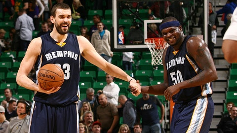 SALT LAKE CITY, UT - FEBRUARY 4:  Marc Gasol #33 and Zach Randolph #50 of the Memphis Grizzlies celebrate during the game against the Utah Jazz on February 4, 2015 at EnergySolutions Arena in Salt Lake City, Utah. NOTE TO USER: User expressly acknowledges and agrees that, by downloading and or using this Photograph, User is consenting to the terms and conditions of the Getty Images License Agreement. Mandatory Copyright Notice: Copyright 2015 NBAE (Photo by Melissa Majchrzak/NBAE via Getty Images)
