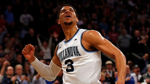 Mar 10, 2017; New York, NY, USA; Villanova Wildcats guard Josh Hart (3) reacts after making a basket late in the second half against the Seton Hall Pirates during the Big East Conference Tournament at Madison Square Garden. Mandatory Credit: Adam Hunger-USA TODAY Sports