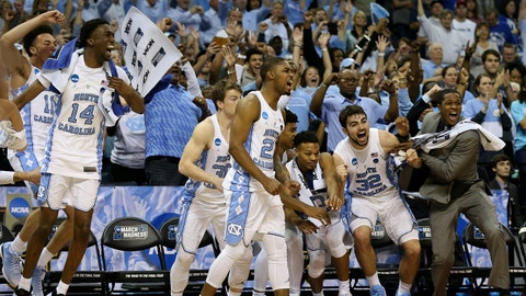 Mar 26, 2017; Memphis, TN, USA; North Carolina Tar Heels bench reacts after defeating the Kentucky Wildcats in the finals of the South Regional of the 2017 NCAA Tournament at FedExForum. North Carolina won 75-73. Mandatory Credit: Nelson Chenault-USA TODAY Sports