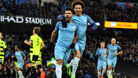 Manchester City's Sergio Aguero celebrates scoring a penalty with Leroy Sane during the Emirates FA Cup match at the Etihad Stadium, Manchester on 1st March, 2017 (Manchester City FC / Manchester City FC via AP Images) THIS CONTENT IS PART OF A PREMIUM CONTRIBUTOR COLLECTION AND CARRIES MINIMUM USAGE FEES, CONTACT YOUR LOCAL SALES REPRESENTATIVE FOR PRICING.