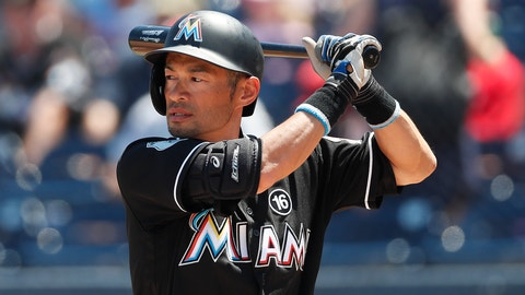 Miami Marlins' Ichiro Suzuki bats against the Houston Astros in the first inning of a spring training baseball game Wednesday, March 29, 2017, in West Palm Beach, Fla. (AP Photo/John Bazemore)