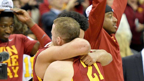 Mar 11, 2017; Kansas City, MO, USA; Iowa State Cyclones guard Matt Thomas (21) embraces guard Nazareth Mitrou-Long (15) after the win over the West Virginia Mountaineers during the Big 12 Championship Tournament at Sprint Center. Iowa State won 80-74. Mandatory Credit: Denny Medley-USA TODAY Sports