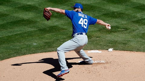 "TEMPE, AZ - MARCH 06: Jake Arrieta #49 of the Chicago Cubs pitches Los Angeles Angels of Anaheim during a spring training game at Tempe Diablo Stadium on March 06, 2017 in Tempe, Arizona. (Photo by Tim Warner/Getty Images)""n""n"