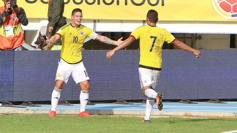 BARRANQUILLA, COLOMBIA - SEPTEMBER 01:  James Rodriguez of Colombia celebrates with teammate Carlos Bacca after socoring the opening goal during a match between Colombia and Venezuela as part of FIFA 2018 World Cup Qualifiers at Roberto Melendez Stadium on September 01, 2016 in Barranquilla, Colombia. (Photo by Aldo Castillo/LatinContent/Getty Images)