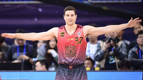 BEIJING, CHINA - JANUARY 08: Jimmer Fredette of Southern Team reacts during the all-star game between Northern Team and Southern Team as part of 2017 CBA All-Star Weekend at LeSports Center on January 8, 2017 in Beijing, China.  (Photo by VCG/VCG via Getty Images)