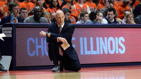 CHAMPAIGN, IL - JANUARY 25: Fighting Illini Head Coach John Groce looks on during the Big Ten Conference game against the Iowa Hawkeyes on January 25, 2017, at the State Farm Center in Champaign, Illinois. (Photo by Michael Allio/Icon Sportswire via Getty Images)