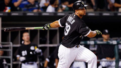 Chicago White Sox's Jose Abreu hits a single against the Kansas City Royals during the fifth inning of a baseball game Friday, Sept. 9, 2016, in Chicago. (AP Photo/Nam Y. Huh)