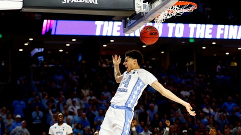 Mar 19, 2017; Greenville, SC, USA; North Carolina Tar Heels forward Justin Jackson (44) dunks the ball during the second half against the Arkansas Razorbacks in the second round of the 2017 NCAA Tournament at Bon Secours Wellness Arena. Mandatory Credit: Jeremy Brevard-USA TODAY Sports