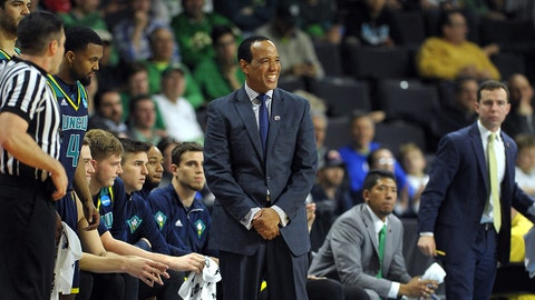 PROVIDENCE, RI - MARCH 17: Head coach Kevin Keatts of the North Carolina-Wilmington Seahawks reacts against the Duke Blue Devils during the first round of the 2016 NCAA Men's Basketball Tournament at Dunkin' Donuts Center on March 17, 2016 in Providence, Rhode Island. (Photo by Lance King/Getty Images)