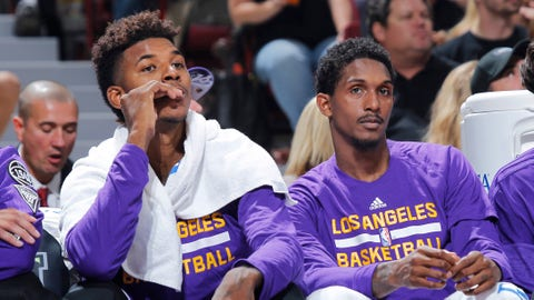 SACRAMENTO, CA - OCTOBER 30: Nick Young #0 and Louis Williams #23 of the Los Angeles Lakers look on during the game against the Sacramento Kings on October 30, 2015 at Sleep Train Arena in Sacramento, California. NOTE TO USER: User expressly acknowledges and agrees that, by downloading and or using this photograph, User is consenting to the terms and conditions of the Getty Images Agreement. Mandatory Copyright Notice: Copyright 2015 NBAE (Photo by Rocky Widner/NBAE via Getty Images)