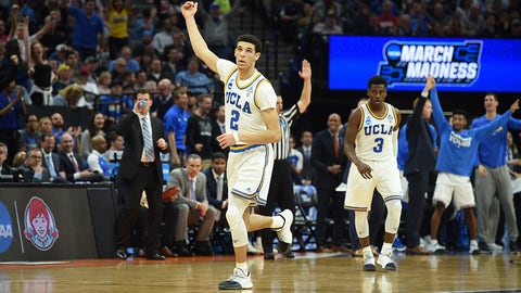 SACRAMENTO, CA - MARCH 19: UCLA Bruins (2) Lonzo Ball (G) celebrates after making a three point shot during the second half of the UCLA Bruins game versus the Cincinnati Bearcats in their NCAA Division I Men's Basketball Championship second round game on March 19, 2017, at Golden 1 Center in Sacramento, CA. (Photo by Chris Williams/Icon Sportswire) (Icon Sportswire via AP Images)