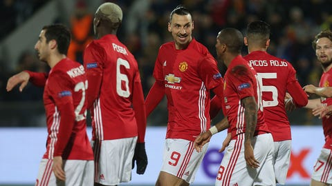 ROSTOV-ON-DON, RUSSIA - MARCH 09:  Zlatan Ibrahimovic of Manchester United celebrates Henrikh Mkhitaryan scoring their first goal during the UEFA Europa League Round of 16 first leg match between FK Rostov and Manchester United at Olimp-2 on March 9, 2017 in Rostov-on-Don, Russia.  (Photo by John Peters/Man Utd via Getty Images)