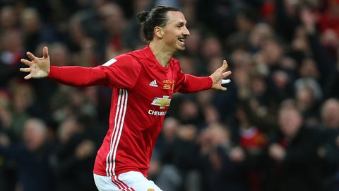 LONDON, ENGLAND - FEBRUARY 26: Zlatan Ibrahimovic of Manchester United celebrates during the EFL Cup Final match between Manchester United and Southampton at Wembley Stadium on February 26, 2017 in London, England. (Photo by Catherine Ivill - AMA/Getty Images)
