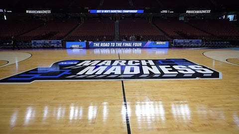 GREENVILLE, SC - MARCH 17: A general view of the NCAA March Madness logo at center court during the first round of the 2017 NCAA Men's Basketball Tournament at Bon Secours Wellness Arena on March 17, 2017 in Greenville, South Carolina. (Photo by Lance King/Getty Images)