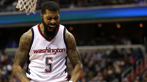 WASHINGTON, DC - FEBRUARY 10: Markieff Morris #5 of the Washington Wizards reacts against the Indiana Pacers during the second half at Verizon Center on February 10, 2017 in Washington, DC. NOTE TO USER: User expressly acknowledges and agrees that, by downloading and or using this photograph, User is consenting to the terms and conditions of the Getty Images License Agreement. (Photo by Patrick Smith/Getty Images)