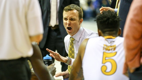 CHATTANOOGA, TN - DECEMBER 06: Chattanooga Mocs head coach Matt McCall reacts while talking to his boy during the second half of the NCAA basketball game between Chattanooga and Marshall on December 06, 2016, at McKenzie Arena in Chattanooga, TN. Chattanooga defeats Marshall 96-85. (Photo by Frank Mattia/Icon Sportswire)