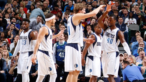 DALLAS, TX - JANUARY 30: Harrison Barnes #40 and Dirk Nowitzki #41 of the Dallas Mavericks react during the game against the Cleveland Cavaliers on January 30, 2017 at the American Airlines Center in Dallas, Texas. NOTE TO USER: User expressly acknowledges and agrees that, by downloading and or using this photograph, User is consenting to the terms and conditions of the Getty Images License Agreement. Mandatory Copyright Notice: Copyright 2017 NBAE (Photo by Danny Bollinger/NBAE via Getty Images)