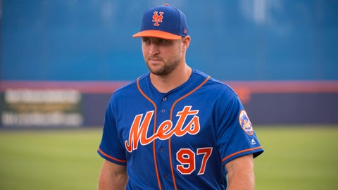 PORT ST LUCIE, FL - MARCH 08: New York Mets Designated Hitter Tim Tebow (97) during a MLB spring training game between the Boston Red Sox and the New York Mets at Tradition Field in Port St Lucie, Florida on March 8, 2017. (Photo by Doug Murray/Icon Sportswire via Getty Images)