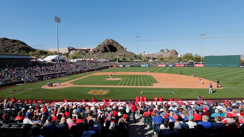 TEMPE, AZ - MARCH 06:  A general view of the stadium during the spring training game between the Los Angeles Angels and the Chicago Cubs at Tempe Diablo Stadium on March 6, 2017 in Tempe, Arizona.  (Photo by Tim Warner/Getty Images)