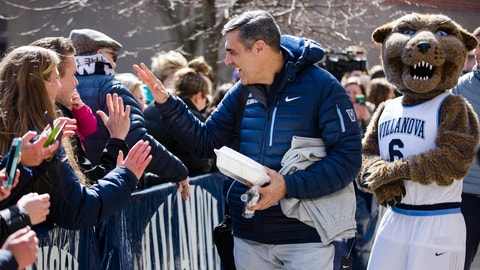 Villanova  NCAA college basketball head coach Jay Wright boards a bus as the team departs Villanova, Pa., on Monday, March 13, 2017 for a game in the first round of the NCAA Tournament, in Buffalo, N.Y. Teams chasing a college basketball title are contending with an unexpected wrinkle that's making last-minute travel plans even tougher: the anticipation of a storm bearing down on the Northeast that's expected to dump snow and wind. (AP Photo/Matt Rourke)