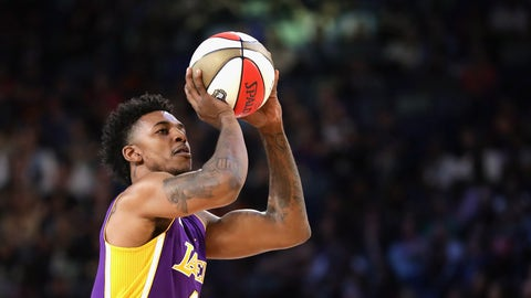 NEW ORLEANS, LA - FEBRUARY 18:  Nick Young #0 of the Los Angeles Lakers competes in the 2017 JBL Three-Point Contest at Smoothie King Center on February 18, 2017 in New Orleans, Louisiana. NOTE TO USER: User expressly acknowledges and agrees that, by downloading and/or using this photograph, user is consenting to the terms and conditions of the Getty Images License Agreement.  (Photo by Ronald Martinez/Getty Images)