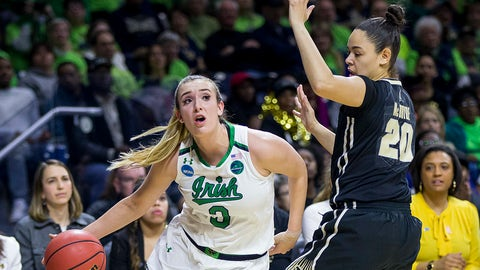 Notre Dame's Marina Mabrey (3) moves by Purdue's Dominique McBryde (20) during the first half of a second-round game in the NCAA women's college basketball tournament, Sunday, March 19, 2017, in South Bend, Ind. (AP Photo/Robert Franklin)
