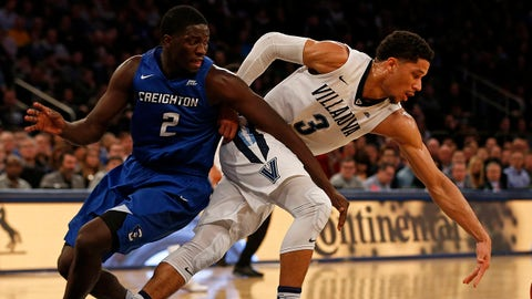 Mar 11, 2017; New York, NY, USA; Villanova Wildcats guard Josh Hart (3) and Creighton Bluejays guard Khyri Thomas (2) battle for a loose ball during the first half of the Big East Conference Tournament final game at Madison Square Garden. Mandatory Credit: Adam Hunger-USA TODAY Sports
