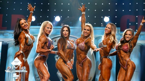 Fitness winner Oksana Grishina (3rd from left)