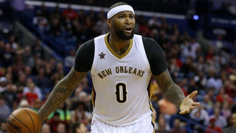 NEW ORLEANS, LA - MARCH 03:  DeMarcus Cousins #0 of the New Orleans Pelicans reacts during the second half of a game against the San Antonio Spurs at the Smoothie King Center on March 3, 2017 in New Orleans, Louisiana. NOTE TO USER: User expressly acknowledges and agrees that, by downloading and or using this photograph, User is consenting to the terms and conditions of the Getty Images License Agreement.  (Photo by Jonathan Bachman/Getty Images)