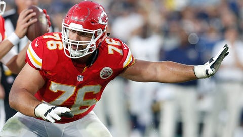 FILE - In this Aug. 20, 2016, file photo, Kansas City Chiefs offensive guard Laurent Duvernay-Tardif (76) blocks during a preseason NFL football game against the Los Angeles Rams in Los Angeles. Duvernay-Tardif was going to get getting a handsome paycheck one way or another. But the soon-to-be doctor probably didn't expect it to be a $41.25 million contract to play on the offensive line for the Chiefs (AP Photo/Rick Scuteri, File)