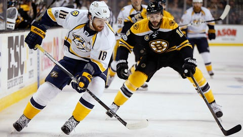 Nashville Predators' James Neal (18) handles the puck as Boston Bruins' Drew Stafford (19) defends during the first period of an NHL hockey game in Boston, Tuesday, March 28, 2017. (AP Photo/Michael Dwyer)