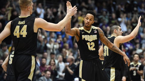 Mar 5, 2017; Evanston, IL, USA; Purdue Boilermakers forward Vincent Edwards (12) celebrates with center Isaac Haas (44) during the second half against the Northwestern Wildcats at Welsh-Ryan Arena. The Boilermakers won 69-65. Mandatory Credit: Patrick Gorski-USA TODAY Sports
