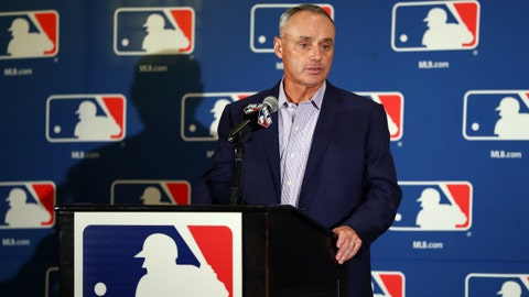 PHOENIX, AZ - FEBRUARY 21: Commissioner of Baseball Robert D. Manfred Jr. speaks to the media during 2017 Cactus League Media Availability on Tuesday, February 21, 2017 at the Arizona Biltmore Hotel in Phoenix, Arizona. (Photo by Alex Trautwig/MLB Photos via Getty Images)