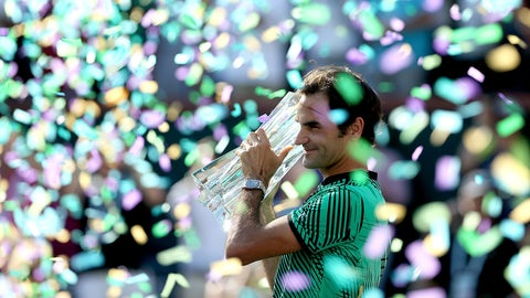INDIAN WELLS, CA - MARCH 19:  Roger Federer of Switzerland celebrates his win over Stan Wawrinka of Switzerland during the men's final of the BNP Paribas Open at the Indian Wells Tennis Garden on March 19, 2017 in Indian Wells, California.  (Photo by Matthew Stockman/Getty Images)