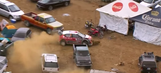 A rally car accidentally drove into a parking lot and still won the race