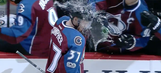 Avalanche rookie gets shower from the bench after scoring first NHL goal