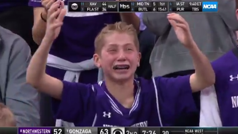 Emotional young Northwestern fan becomes instant tourney highlight