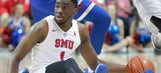 Watch: SMU's Shake Milton keeps his dribble while on the ground to set up alley-oop