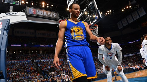OKLAHOMA CITY, OK - MARCH 20: Stephen Curry #30 of the Golden State Warriors looks on against the Oklahoma City Thunder during the game on March 20, 2017 at Chesapeake Energy Arena in Oklahoma City, Oklahoma. NOTE TO USER: User expressly acknowledges and agrees that, by downloading and or using this photograph, User is consenting to the terms and conditions of the Getty Images License Agreement. Mandatory Copyright Notice: Copyright 2017 NBAE (Photo by Jesse D. Garrabrant/NBAE via Getty Images)