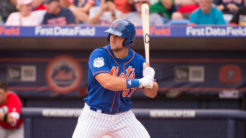 PORT ST LUCIE, FL - MARCH 08: New York Mets Designated Hitter Tim Tebow (97) bats during a MLB spring training game between the Boston Red Sox and the New York Mets at Tradition Field in Port St Lucie, Florida on March 8, 2017. (Photo by Doug Murray/Icon Sportswire via Getty Images)